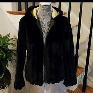 Braetan Mink Look Black Hooded Jacket